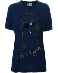 Lanvin - Blue Sequin Embroidery T-shirt - Lyst
