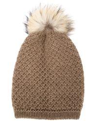 Inverni | Brown - Racoon Fur Pompom Beanie - Women - Cashmere/racoon Fur/merino - One Size | Lyst