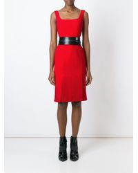 Alexander McQueen - Red Square Neck Pencil Dress - Lyst