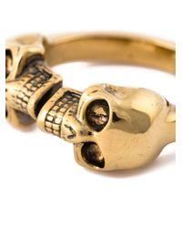 Alexander McQueen   Metallic Twin Skull Ring for Men   Lyst
