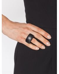 Monies - Black Rounded Triangle Ring - Lyst