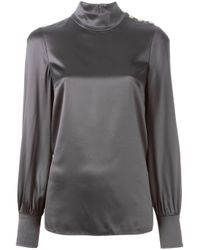 Dolce & Gabbana - Gray - High Standing Collar Blouse - Women - Silk/spandex/elastane - 46 - Lyst