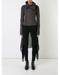 Rick Owens - Gray Eliel Wool, Leather and Cotton Biker Jacket - Lyst