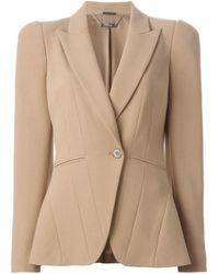 Alexander McQueen - Natural Pleated Wool-Blend Blazer  - Lyst