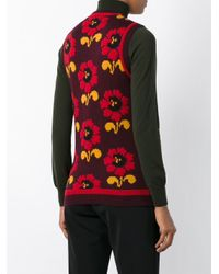 P.A.R.O.S.H. - Red Floral Intarsia Knit Top - Lyst