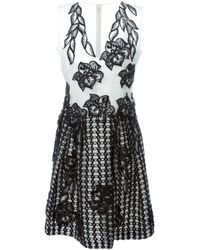 Alberta Ferretti - Black Embroidered Flowers Dress - Lyst