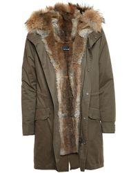 Yves Salomon - Blue Classic Rabbit Fur-lined Canvas Parka for Men - Lyst