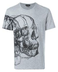 Alexander McQueen | Gray Skull Sketch Print T-shirt for Men | Lyst