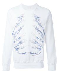 Alexander McQueen | White Wave Embroidered Sweatshirt for Men | Lyst
