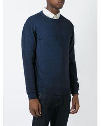 Zanone - Blue Round Neck Fine Knit Sweater for Men - Lyst