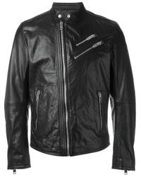 DIESEL | Black Wolf Rule Printed Lining Biker Jacket for Men | Lyst