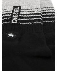 DIESEL | Black Logo Socks With Ribbed Details for Men | Lyst