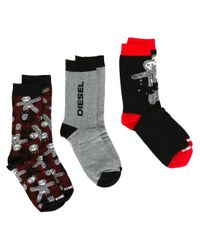 DIESEL | Black Three-pack Socks for Men | Lyst