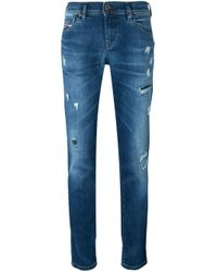 DIESEL | Blue - Tapered Distressed Jeans - Women - Cotton/spandex/elastane - 30/32 | Lyst