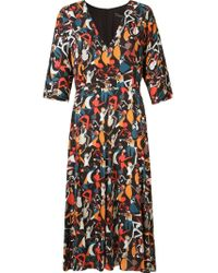 Andrea Marques | Black Midi Flared Printed Dress | Lyst