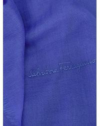Ferragamo - Blue Embroidered Logo Scarf - Lyst