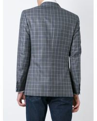 Brioni - Gray Check Print Blazer for Men - Lyst