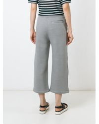 T By Alexander Wang - Gray Wide Leg Track Pants - Lyst