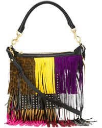 Saint Laurent | Black Women's Leather Fringed Hobo Bag In Multicolour | Lyst