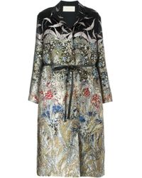 Valentino | Black Floral And Bird Jacquard Coat | Lyst