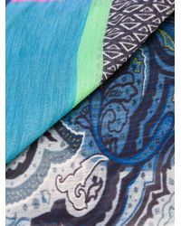 Etro - Blue Printed Scarf for Men - Lyst