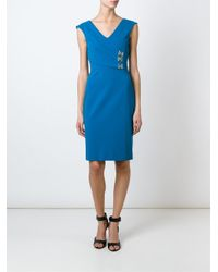 Versace - Blue Fitted V-neck Dress - Lyst