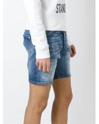 DSquared² - Blue Distressed Denim Shorts for Men - Lyst