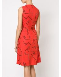 Calvin Klein - Red 'fauve' Dress - Lyst