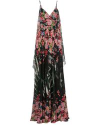 Elie Saab | Black - Floral Print Maxi Dress - Women - Silk - 36 | Lyst