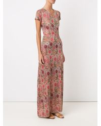 Cecilia Prado - Multicolor Floral Long Knitted Dress - Lyst
