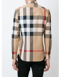 Burberry - Black Checked Shirt for Men - Lyst