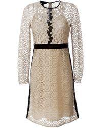 Burberry - Multicolor Floral Lace A-line Dress - Lyst