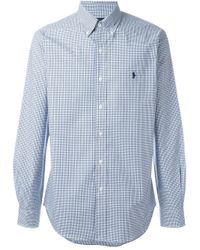 Pink Pony | Blue Slim Fit Checked Poplin Shirt for Men | Lyst