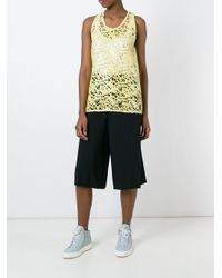 MSGM - Black Lace Sequinned Tank Top - Lyst