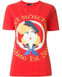 Love Moschino | Red Girl Graphic Tee | Lyst
