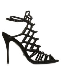 Schutz | Black Juliana Leather Sandals | Lyst