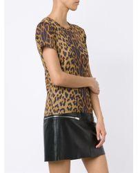 Saint Laurent   Brown Leopard Print T-shirt   Lyst