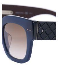 Bottega Veneta - Blue Intrecciato Sunglasses - Lyst