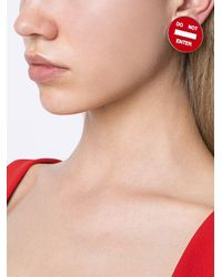 Moschino - Red 'do Not Enter' Clip-on Earrings - Lyst