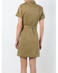 Burberry Brit | Green Belted Military Shirt Dress | Lyst