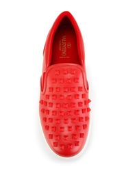 Valentino - Red 'Rockstud' Slip-on Sneakers for Men - Lyst