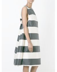 Rochas - Black Wide Stripes Flared Sleeveless Midi Dress - Lyst