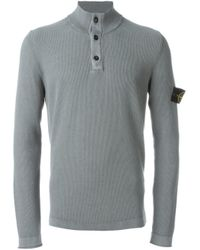 Stone Island | Gray Button Collar Sweater for Men | Lyst