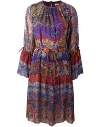 Etro | Blue Painted Floral Print Dress | Lyst