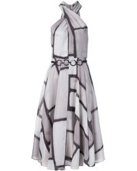 Halston | Black Flared Halterneck Dress | Lyst