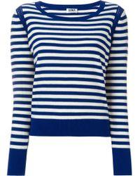 Sonia by Sonia Rykiel - White Sailor Stripe Shoulder Crochet Detail Jumper - Lyst