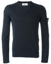 Stone Island - Blue V-neck Sweater for Men - Lyst