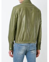 Bally - Green Zipped Leather Jacket for Men - Lyst