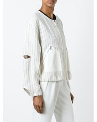 3.1 Phillip Lim - Multicolor Pinstripe Cropped Jacket - Lyst