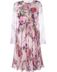 Dolce & Gabbana | Pink Floral And Bird Print Dress | Lyst